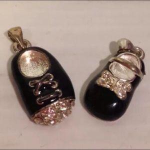 Boy and girl Mary Jane shoe charms black enameled